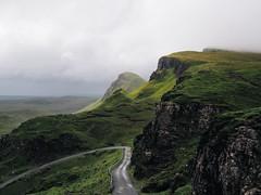 Quiraing (aridleyphotography.com) Tags: road travel light sky skye slr clouds digital landscape scotland highlands track isleofskye august olympus dslr volcanic 2014 quiraing scottishhighlands vsco vscofilm olympusomd olympusomdem10