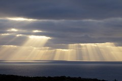 Sun rays over the sea (Alasdair Sargent) Tags: ocean autumn sea sunrise landscape coast scotland highland shore sutherland