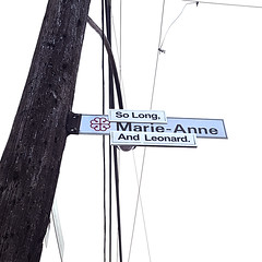 So Long Marianne And Leonard (Exile on Ontario St) Tags: leonardcohen solong marianne sign street marieanne intersection traffic streetname trafficsign streetnamesign signe pancarte affiche long leonard marie anne memorial montreal death cohen rip tribute hommage dies dead décès mort passing singer poet writer montrealer ann saintdominique stdominique square squareformat quebec canada québec montréal ripleonardcohen hommages plateau plateaumontroyal tributes songwriter song songs music canadian mourn mourning