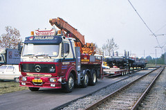 Once upon a time - The Netherlands - Nieuwegein (railasia) Tags: holland provinceutrecht nieuwegein sun utilityvehicle flatcar truck lowbedsemitrailer show infra depot eighties