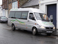 MW55 OMD, a Mercedes 413CDi/Excel of Harris (Criffel Coaches), Dumfries, seen in Castle Douglas on 29 October 2016. (C15 669) Tags: mw55 omd harris criffel dumfries