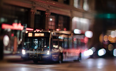 THE 22 DOWNTOWN BUS (Jovan Jimenez) Tags: 22 canada knight downtown city vancouver bokeh night lights canon eos m3 eosm3 nikkor nikon tiltshift bus transportation public colors rogers building 50mm f12 street
