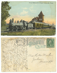 Texas Midland R. R. Depot, Greenville, Texas. (SMU Central University Libraries) Tags: africanamericans steamlocomotives railroadpassengercars railroadstations texasmidlandrailroadcompany carts carriages
