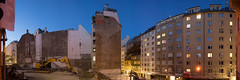 Renngasse 10 / #12 (2016) (timstani) Tags: panoramaphotography panoramicphotograph pano photo constructionsite lowlight longexposure dusk outdoor architecture building construction reconstruction interiorview demolished gutted urban urbandevelopment urbanexploring city citycenter downtown innercity historiccenter historiccitycenter vienna wien 1010 renngasse tiefergraben wchtergasse