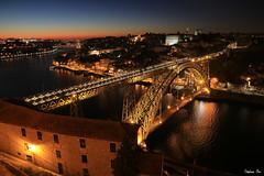Porto by night (HimalAnda) Tags: porto portugal nuit night sunset crpuscule pont bridge lumires lights douro canoneos70d eos70d stphanebon cityscape