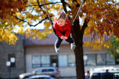 Liv Fall Swing (K. McMahon) Tags: autumn changing changingcolors chicago child colors fall horner illinois kid leaf leaves liv park smile swing tree