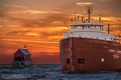 Herbert C. Jackson [explore] (Scott Shields Photo) Tags: herbert c jackson interlake steamship company grand haven michigan 2016 sunset great lakes lake lighthouse colorful sky