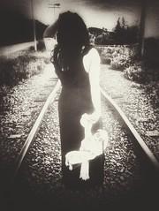 Unforeseen Journey. (Kat McClelland) Tags: depth field traintracks train journey selflove love childhood doll goth gothic dress woman lonely feelings emotion