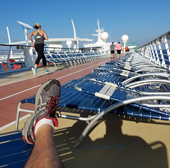 morning routine... (Baja Juan) Tags: royal caribbean cruising sport track shipdeck early morning routine vacations empty sun loungers shiprailing sunny skies baja