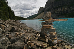 Inukshuk in the Canadian Rockies (Tamas V) Tags: canon eos 30d apsc ef efs tokina 1116mm tokina1116mm uwa wa canada canadian rockies rocky mountains rockymountains canadianrockies alberta albertan mountain range mountainrange nature natural lake inukshuk inuk stone rock statue blue green grey white park nationalpark parkscanada fillflash fill flash wide angle ultrawide ultrawideangle wideangle travel traveling travelling hike hiking trail path istock getty gettyimages stockphotograph stockphotography naturephotograph naturephotography photograph photography landscape landscapephotograph landscapephotography outdoors explore exploring beauty beautiful forest morraine 1116 canon30d tourism
