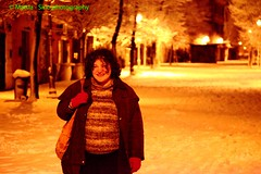 Pigneto - Central street under the snow in the night with a woman (Barbara Coluzzi) Tags: pigneto rome italy centralstreet snow night person woman february2012 dip digitallyimprovedphoto