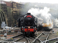 The Tin Bath, Sheffield Station 2016 (Dave_Johnson) Tags: thetinbath tinbath steamtrain steamengine steam train engine locomotive rail railway southyorkshire sheffieldmidland sheffieldmidlandstation midlandstation station railwaystation sheffield britishrail britishrailways 144023 44871 blackfive stannier lms loco railtour westcoastrailways class144 northernrail pacer railbus diesel multipleunit sprinter