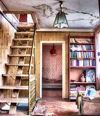 (marianna.ruadze) Tags: hdr armchair chair lounge dilapidated decrepit ramshackle rattletrap tacky bookshelf bookcase bookrack window casement light sunbeam picture painting book gloomy dark grim bleak books abandoned neglected deserted godforsaken jug pitcher jar clay lattice spots old ancient antique clock loneliness solitude decay art yellow house new orange village brown colours indoor stairs staircase ladder stairway footway lamp bulb bedroom bright shadow shade red blue georgia tbilisi