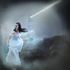 'The Unlonely' (Natasha Root Photography) Tags: natasharootphotography painterly fantasy fineart square fog spirit likeapainting lighthouse story storytelling beach dark light ghost white dress