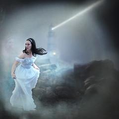 'The Unlonely' (Natasha Root Photography) Tags: natasharootphotography painterly fantasy fineart square fog spirit likeapainting lighthouse story storytelling beach dark light ghost white dress