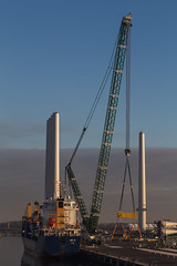 Standing tall (Per-Karlsson) Tags: maritime maritimeindustry ports belfast windpower crane renewableenergy harbour vessel ship windturbinetower tower industry shipping