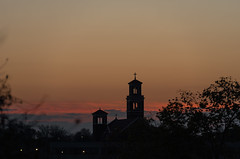 Sunrise After Super Moon (Kevin VanEmburgh Photography) Tags: city downtown kansascity kc kcmo kevinvanemburghphotography nikon supermoon sunrise landscape landscapephotography church cross religion colorfulsky colors steeple