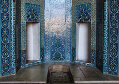 Jameh masjid or friday mosque mihrab with dedicated doors for men and women, Yazd province, Yazd, Iran (Eric Lafforgue) Tags: 0people ancient arabic architectural architecture blue colorimage decoration faith friday fridaymosque historic historical history horizontal indoors iran islam jameh jamehmosque jomeh masjid middleeast mihrab mosque muslim nopeople nobody ornate persia persian photography placeofinterest religion sight tiles travel yazd yazdprovince
