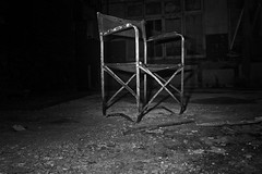 The forgotten chair (kayaspic) Tags: chair night urbex indoor darkness dark blackandwhite blackwhite noire et blanc creative creativity gloomy dim anxiety canon monochrome monochromatic urbanexploration decay abandoned urbandecay old horror