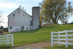 Conowingo & Lancaster 076 (dena429) Tags: farm barn silo fence white field whitebarn whitesilo whitefence lancastercounty pennsylvania agriculture farming