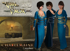Gods of Valor - Charlemaine - Sapphire Ad (Filipa Thespian) Tags: roleplay medieval gown dress wrapped corset tunic gorean gor historic historical chemise secondlife virtualworld 3dclothing virtualclothing