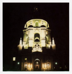 Pasadena City Hall Nights 1 (tobysx70) Tags: the impossible project tip polaroid sx70sonar sonar instant color film for sx70 type cameras impossaroid city hall nights route 66 rt rte garfield avenue pasadena california ca night nocturnal lit illuminated dome arches star wars imperial stormtrooper toby hancock photography