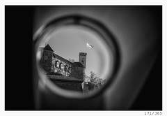 ocular view of Ljubljana (Alja Ani Tuna) Tags: 171 171365 365 ljubljana castle flag castlehill hill city slovenia photo365 project365 citycenter center capitalcity onephotoaday onceaday old look view circle round window d800 dailyphoto day dof monocrome monochrome nikond800 nikkor nikkor85mm nice naturallight 85mmf18 f18 bw blackandwhite black blackwhite beautiful white