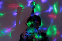 lights will guide you home (Loredana Mad Desiato) Tags: music coldplay ukulele lights led light red blu green guy boy hair hand home marco