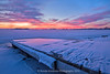 Winter Sunrise in Colorado (RondaKimbrow) Tags: dock pier sunrise winter snow ice flakes cold lonetreereservoir larimer county colorado lake frozen season structure fishing icefishing clouds america usa beautiful
