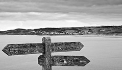 Woolacombe (c.richard) Tags: woolacombe devon blackandwhite signpost sign coast monotone nationaltrust