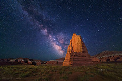 "Milky Way over Capitol Reef (IronRodArt - Royce Bair (""Star Shooter"")) Tags: milkyway stars templeofthemoon starrynight night sky capitolreef capitolreefnationalpark cathedralvalley utah universe monument geological formation geology desert erosion nightscape nightphotography lightpainting"
