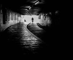 Tunnel Vision II (Dan-Schneider) Tags: streetphotography street schwarzweiss tunnel blackandwhite bw urban human light lines olympus omdem10 monochrome