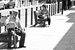 Sun! (MichaelRojas) Tags: madrid street portrait bw sun warm candid streetphotography bn getafe callejera