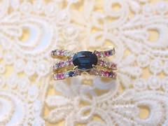 ピンク&ブルーのサファイア・リング  Blue Sapphire and Pink Sapphire Ring (jewelrycraft.kokura) Tags: 指輪 pinksapphire bluesapphire ダイヤモンド k18 ダイヤ サファイア イエローゴールド ブルーサファイア ピンクサファイア