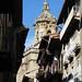 Au hasard des rues, clocher baroque (XVIIIe) de Santa María de la Asunción y del Manzano, Fontarrabie, Guipuscoa, Pays basque, Espagne.