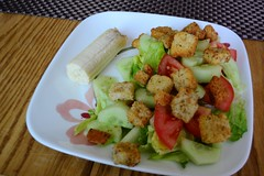 A Cold Lunch for a Hot Day (Vegan Butterfly) Tags: food cold garden tomato lunch salad vegan yummy healthy tasty plate banana delicious lettuce meal vegetarian garlic cucumbers croutons romaine