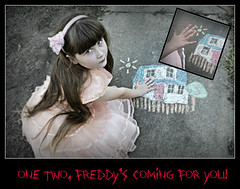 One, Two.. (Portrait Central) Tags: street light portrait brown house girl photoshop hair movie photo chalk costume scary long pretty photographer natural little drawing alice character 4 central young spooky professional photograph nancy horror nightmare elm freddy krueger