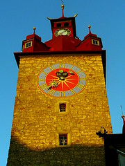 Luzern clock tower (eucharisto deo) Tags: sunset switzerland swiss luzern vierwaldstattersee
