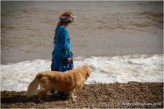 Sidmouth Folk Festival 2014-2869 (AndyG01) Tags: blue dog beach festival lady hair ribbons long dress folk pebbles blonde braids sidmouth preraphaelite