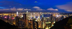 HK Twlight View from the Peak Panorama (DaisyYeung) Tags: ocean city blue sea sky urban panorama mountains skyline night clouds buildings dark landscape photography lights harbor nikon colorful long exposure view time cityscapes peak victoria hong kong daisy nikkor yeung d800 twlight 24mm70mm daisyyeung