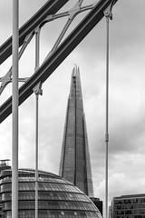 London (curiosandknickknacks) Tags: city bridge blackandwhite london water architecture towerbridge landscapes boat thethames theshard