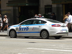 NYPD Ford Fusion (JLaw45) Tags: road street door new york city blue urban usa white ford public america sedan island four cops metro manhattan united police midtown government service metropolis law parked states enforcement fusion hybrid avenue department worldcars