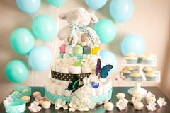 Baby Shower Diaper Cake (PersonalCreations.com) Tags: kids cupcakes diy crafts butterflies gifts homemade lamb diapers babyshower springtime diapercake personalcreations softandsnugglylamb