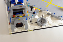 Side entrance - Visiting the Ice Planet (jskaare) Tags: snow ski ice lego space pad cargo landing creation shuttle planet spaceship custom artic base own outpost moc drone pinnace