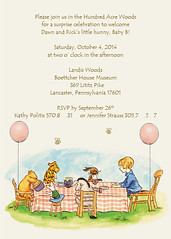 Winnie the Pooh Baby Shower Invitation (maddieandmarry) Tags: friends baby illustration balloons shower bees celebration invitation honey surprise winniethepooh bumblebees storybook hunny hundredacrewoods
