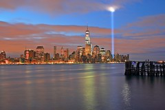 W T C Towers Of Light (pmarella) Tags: night clouds pmarella hudsonriver towersoflight hobokennj onthewaterfront riverviewpkproductions icoverthewaterfront nightlightsreflections lowermanhattanoneworldtradecenter