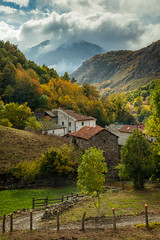 Otoo Dorado (S l a w e k) Tags: autumn trees mist mountains misty clouds forest fence countryside colours afternoon village view cloudy vista colourful peaks len autumnal picosdeeuropa sotodesajambre