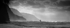 Na Pali Coast, Kauai (dotnethed) Tags: ocean blackandwhite mist storm mountains nature water monochrome clouds hawaii waves shadows power shoreline dramatic pacificocean kauai drama napali bigwaves haena napalicoast naturespower oceancliffs nx300 imagelogger ditchthedslr