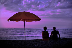 [ Senza più bisogno di parole - No need for words anymore ] DSC_0031.4.jinkoll (jinkoll) Tags: old pink blue sunset sea two sky people orange love beach clouds umbrella couple waves silence romantic calabria seavoice