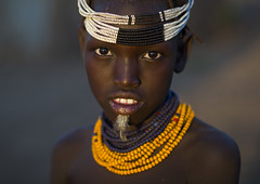 Dassanech Tribe Girl With A Feather In The Chin, Omorate, Omo Valley, Ethiopia (Eric Lafforgue) Tags: africa girls portrait people woman childhood horizontal outdoors women day exterior child african feather tribal blackpeople bead ethiopia tribe chin anthropology oneperson headdress headwear hornofafrica ethiopian nomadic onepersononly traditionalclothing beadednecklace colorpicture childrenonly omorate africanethnicity 1people indigenousculture geleb africanculture 1011years onegirlonly dassanech onechildonly 1112years colourpicture dassanetch omotic daasanach daasanech dassanach blackethnicity ethiopianomovalley ethio1403344